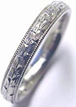 Gold 14K White Solid 3mm Wide Lady Wedding Band Ring Hand Engraved 180 mm Thick Size Selectable From