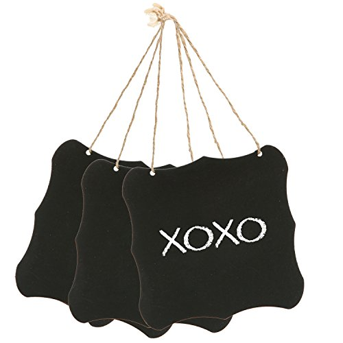 Set of 3 Black Metal & Twine Hanging Erasable Chalkboards / Decorative Write-On & Magnetic Wall Signs