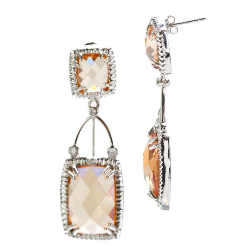 Champagne Square Drop (.925) S/S Earringss (Nice Holiday Gift, Special Black Firday Sale)