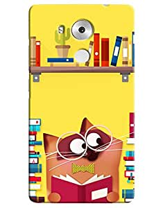 Omnam Cat Studying With So Many Books Printed Designer Back Case For Huawei Honor Mate 8