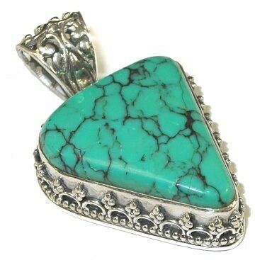 Freeform Turquoise & Sterling Silver Pendant