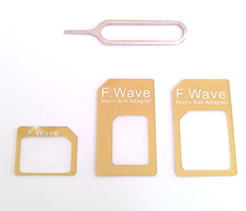 F.Wave 【Amazon限定】Lucky ゴールドカラー nano SIM変換アダプター4点セット Gold color(標準 マイクロ Nano) iPhone6/6plus/5S/5C/4S/4/3GS/3用 Gold 金色 f.wave of FuturePlus Original