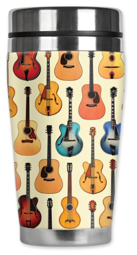 Mugzie® Brand 16-Ounce Travel Mug With Insulated Wetsuit Cover - Acoustic Guitars