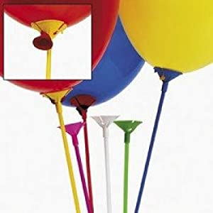 Multicolor Balloon Sticks With Cup (12 Dozen) - Bulk from Fun Express