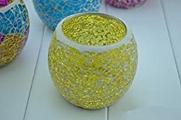 Highsun Practical 2015 Fancy European Style Glass Yellow Mosaic Candle Holder Romatic Lover\'s Candlestick Home Decoration