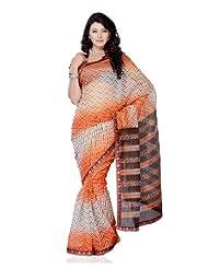 Designer Wear Dark Orange & Off White Super Net Printed Saree