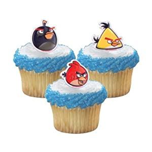 Angry Birds 12pc Cupcake Rings Topper - Birthday Party Favors - Black, Yellow, Red Birds.