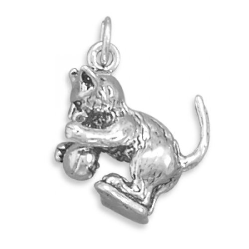 MMA Silver - Kitten with Ball Charm