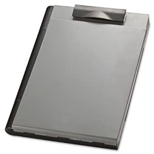 Officemate  Recycled Clipboard Storage/Forms Holder, Plastic, Top Opening, Black/Gray (83356)