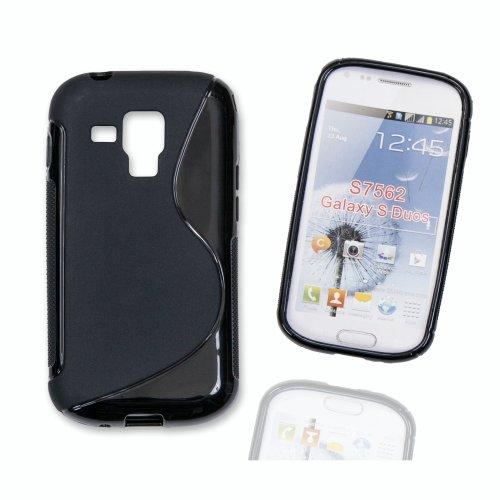 Silikon Case Hülle Etui Handytasche Handykondom Back Cover in schwarz für Samsung Galaxy Trend GT-S7560 / Duos GT-S7562 / Plus GT-S7580 inkl. World-of-Technik Touchpen