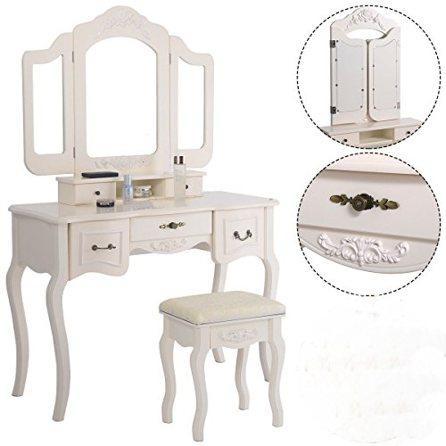 Best Price Tri Folding Vintage White Vanity Makeup Dressing Table Set 5 Drawers &stool