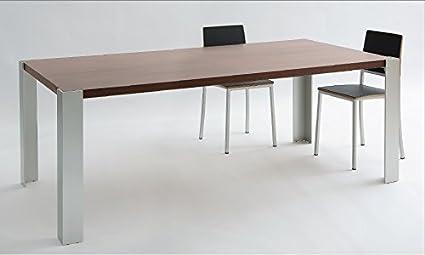 Tavolo da Pranzo SHAULA - Cm 160 x 90 x h.75 - Colore: Verniciato Cromo - Piano in legno di ciliegio - 100% MADE IN ITALY -