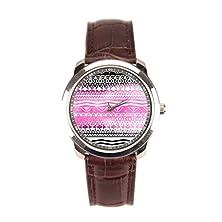 buy X-Christy Modern Pink Brown Aztec Watercolor Pattern Wrist Watch