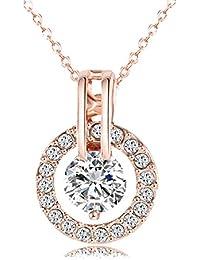 Aaishwarya Dazzling 18K Rose Gold Plated Austrian Crystal Pendant Necklace For Women & Girls