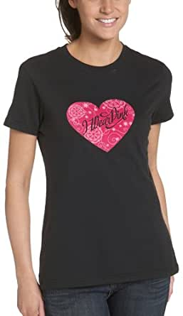 New Balance Women's Lace Up Pink Heart Flock Running Tee,Black,Small
