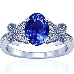 18K White Gold Oval Cut Blue Sapphire Ring With Sidestones