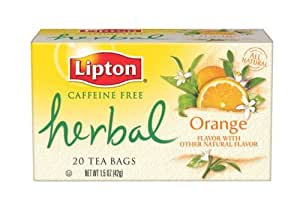 Lipton Herbal Tea, Orange, Tea Bags, 20-Count Boxes (Pack of 6)