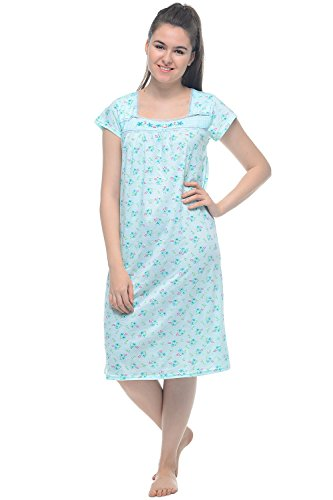 Casual Nights Women's Cap Sleeves Embroidered Floral Lace and Smocked Square Neck Nightgown - Green - Large