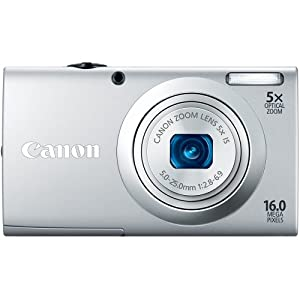 Canon PowerShot A2400 IS 16.0 MP Digital Camera with 5x Optical Image Stabilized Zoom 28mm Wide-Angle Lens with 720p Full HD Video Recording and 2.7-Inch Touch Panel LCD (Silver)