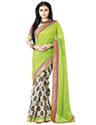 Nistula Abscept Print Border Work Bhagalpuri Saree With Pink Unstitched Blouse Material [Green & Off White]