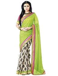 Nistula Abscept Print Border Work Bhagalpuri Saree With Pink Unstitched Blouse Material Green  Off White  Lavanya25005