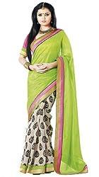 Nistula Abscept Print Border Work Bhagalpuri Saree With Pink Unstitched Blouse Material [Green & Off White] | Lavanya25005