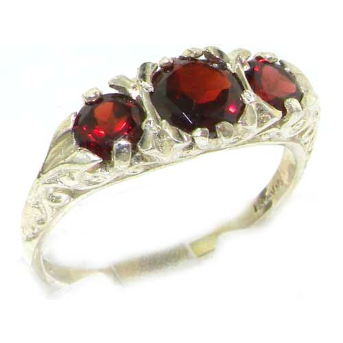 Luxury Ladies Solid Sterling Silver Natural Garnet Victorian Trilogy Ring - Size 12 - Finger Sizes 5 to 12 Available - Suitable as an Anniversary ring, Engagement ring, Eternity ring, or Promise ring