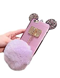 "Jesiya Iphone 6 plus/6s plus Case Fur TPU,Super Cute 3D Handmade Diamond ears Handcraft With Metal Ring Metal Buckle Pendant Fur Plush Ball Clear Cover case for Iphone 6 plus/6s plus 5.5"""