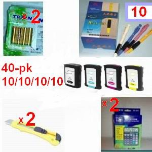 A great deal 40 Pack of Compatible ink Cartridges For HP 88XL - 10 Of Each Color +(2) 12 digit calculator + 10 ball pen + (2) cutter, snap off, + 8-pk AA batteries, great Value........!!!!...hp88xl