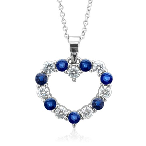 Certified 14k White Gold Heart Natural Sapphire and Diamond Necklace (G, SI2, 0.85 cttw)