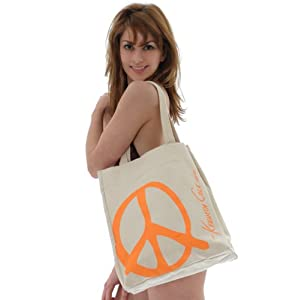 HandBags by Kenneth Cole Reaction Eco Tote Peace Sign Natural Canvas Bag Large Tote Bag
