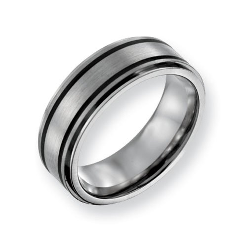 Titanium Black Plated 8mm Brushed and Polished Comfort Fit Wedding Band Ring (SIZE 10 )