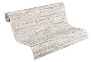 A.S Creation 707116 Tapete Wood`n Stone, Mustertapete in Bruchsteinoptik, grau