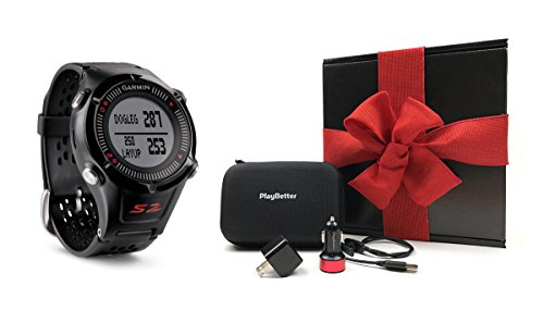 Garmin Approach S2 GIFT BOX | Includes Golf GPS Watch, Case, Wall & Car Charge Adapters (Black)