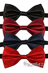 Sorella'z Men's Satin Bowties Combo of Four (Black, Red, Navy, Maroon)