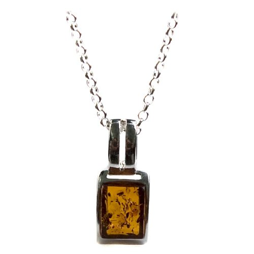 Sterling Silver Honey Amber Small Pendant Necklace , 18