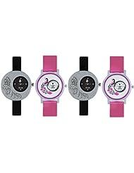 FridaBlack And Pink DesignerAnalogCasualWatchwithComboof4 ForWomenandGirls