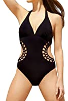 Happy Sailed Women's Halter V Neck Hollow-out One-piece Swimsuit for Beach Prime
