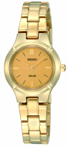 Seiko Women's SUP068 Stainless Steel Analog with Gold Dial Watch