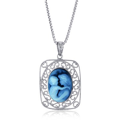 Sterling Silver Filigree Frame 14x10mm Blue Agate Mother and Baby Cameo Pendant W/22″ Adjustable Chain