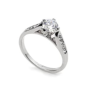 Magic Collection White Gold Finish Solitaire Round Cubic Zirconia Engagement Ring R47 (7)