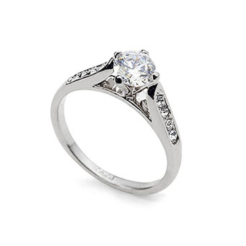 Magic Collection White Gold Finish Solitaire