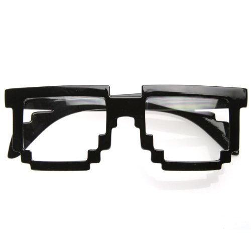 Pixelated 8-Bit Clear Lens Computer Nerd Geek Gamer Glasses