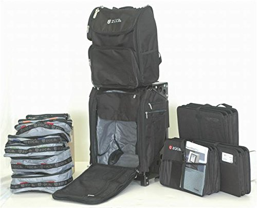 ZUCA Duo: Flyer Travel with Black Frame and Business Backpack and 3 Document Organizers.