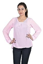 Iande Pink Georgette Plain Top