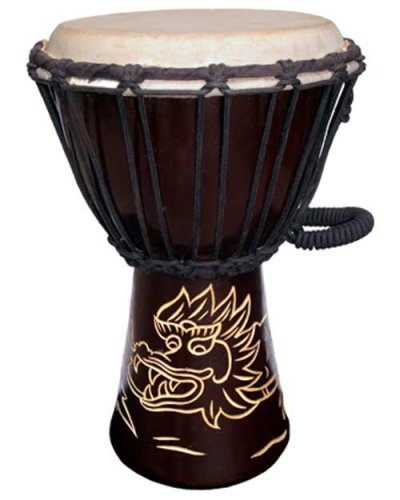 Djembe with Dragon carving; Dark Brown 12