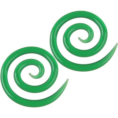 Pair of Glass Super Spirals: 6g Emerald