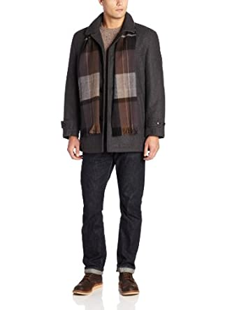 London Fog Men's Barrington Car Coat with Scarf, Charcoal, Large