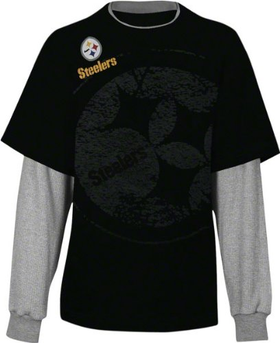 Pittsburgh Steelers Kid's 4-7 Touchdown Faux Layered Long Sleeve T-Shirt