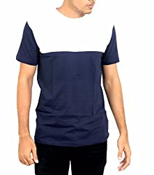 Younsters Choice Men's Cotton T-Shirt (YC-5816_Dark Blue White_Medium)